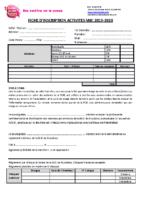 Fiche D'inscription activités hebdo 2019 2020